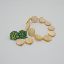 Ensemble boucles et bracelet mélidi orange et vert