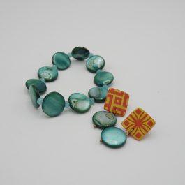 Ensemble boucles et bracelet mélidi turquoise